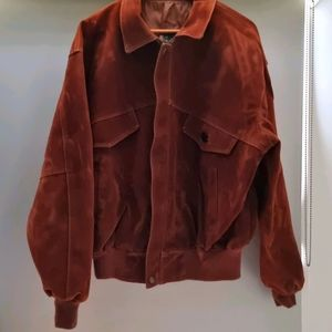 Brown Italian Suede Leather Jacket - Size Large